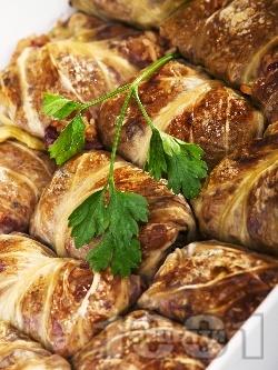 Постни зелеви сарми от кисело зеле със стафиди, орехи и ориз в тава на фурна - снимка на рецептата
